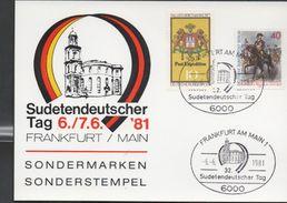 3226  Tarjeta Privada Frankfurt Am Main 1981 , Sondermarken , Sonderstempel, Sudetendeutscher - [7] República Federal