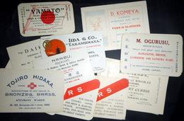 ANTIQUITE JAPON JAPAN 19 CARTES COMMERCIALES DE MARCHANDS NIPPONS OBJETS D'ART TISSUS SOIERIES BRONZES CURIOSITES 1930 - Autres