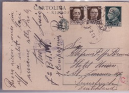 Cartolina Da 15c. RISPOSTA Con Bolli Aggiuntivi Per La Germania 1940  G569 - Stamped Stationery