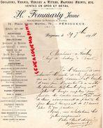 24-  PERIGUEUX- RARE LETTRE MANUSCRITE SIGNEE H. FOMMARTY-ENTREPRENEUR PEINTURE VERNIS-71 PLACE SAINT MARTIN-1894 - 1800 – 1899