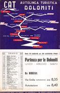 """07261 """"CAT AUTOLINEA TURISTICA DOLOMITI ORARI DAL 13.07 AL 30.08.1960 - PERCORSO FIRENZE / ORTISEI"""" LOCANDINA ORIGINALE - Europe"""