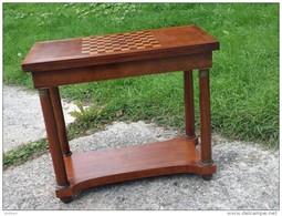 Console Table De Jeux Style Empire  - Marqueterie - Cca 1900 - Meubles