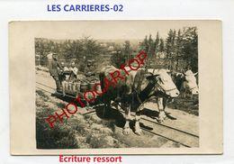 FELDBAHN-LES CARRIERES-Traction Par BOEUFS-CARTE PHOTO All.-Guerre 14-18-1 WK-France-02-Militaria- - Sonstige Gemeinden