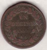 Directoire Consulat . Un Decime L'An 8 AA METZ  . 19 G - France