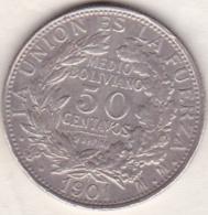Bolivie.  50 Centavos 1901 PTS MM .  Argent . KM# 175.1 - Bolivie
