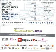Entrance Ticket - Macedonian Opera And Ballet.performance Cavalleria Rusticana - Tickets D'entrée