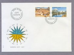 Switzerland Helvetia 1977 FDC Europa CEPT Landschaften Landscapes Sonderstempel Bern - Europa-CEPT