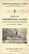 Brochure Toerisme Tourisme Horaire  - Cruise - Parobrodska Sluzba - Yougoslavie - Albanie - 1936 - 1937 - Europe