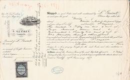 """Connaissement  Maritime - 1874 - Cardiff Pour Saint Nazaire - Bateau """" Moise   """" - Transporte"""