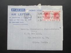 GB / Hong Kong 1951 Air Letter To Milan. Waagerechtes Paar! Hong Kong Products Ninth Exhibition - Cartas