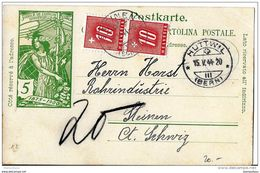 III9 - Entier Postal  UPU Avec 2 Timbres Taxe 1944 - Taxe
