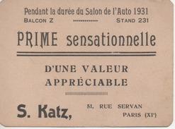 Salon De L'automobile 1931 Prime Sensationnelle D'une Valeur Appréciable S.KATZ Rue Servan PARIS 11e Stand 231 Balcon Z - Maps