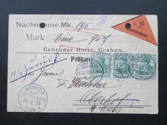 Nachnahmekrte 1909 Germania MeF Gebr. Holtz, Graben. Farben / Lacke U. Firnisse. Vermerk: Zurück. Hänner (Amt Säckingen) - Allemagne