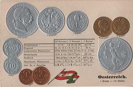 Litho Münzkarte AK Österreich Ungarn Austria Hungary Autriche Hongrie Heller Kronen Kaiser Nationalflagge Coin Pièce - Monnaies (représentations)