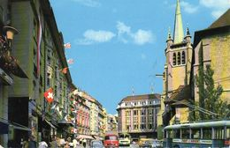 Lausanne, Place Et Eglise St-François, Trolleybus, Autobus, Mercedes-Benz - VD Vaud