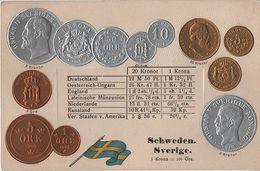 Litho Münzkarte AK Schweden Sverige Suède Sweden Öre Krona Kronor 1898 Nationalflagge Gustaf Oscar II Konung Coin Pièce - Monnaies (représentations)