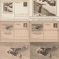 Allemagne Et Autriche 1940 Et 1942. Entiers Postaux Touristiques Perforés Druckprobe, Ski Et Funiculaire - Ski