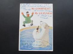 AK Künstlerkarte Bier. 1956 My Goodness - My Guiness. Eisbär Trinkt Bier! Guiness Irland - Humor