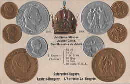Litho Münzkarte AK Österreich Ungarn Austria Hungary Autriche Hongrie Jubiläums Münzen 1907 1908 Kaiser Krone Coin Pièce - Münzen (Abb.)