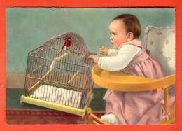 GAS-07  Fillette Dans Sa Chaise D'enfants Et Oiseau. Grand Format. Non Circulé - Neonati