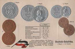 Litho Münzkarte AK Deutsch Ostafrika DOA Kolonie Ostafrikanische Gesellschaft Kaiser Guilelmus Wilhelm 1890 Coin Pièce - Tansania
