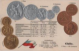 Litho Münzkarte AK Chile Chili Centavo Centavos Peso Pesos Escudo Doblon Condor 1879 Nationalflagge Coin Pièce Moneda - Monedas (representaciones)