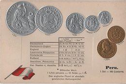 Litho Münzkarte AK Peru Pérou Perú Centavos Sol Dinero Libra Nationalflagge Coin Pièce Moneda America Del Sur Bandera - Monedas (representaciones)