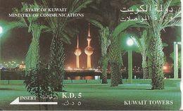 CARTE-MAGNETIQUE-ASIE-KOWEIT-KD5-KUWAIT TOWERS-V° Avec  En Bas SATLINK LTD-BE - Koweït