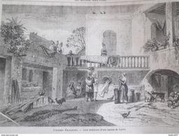 GRAVURE 1867. Colonies Francaises    Cour Interieure D Une Maison De GOREE Dakar Ile Senegal - Unclassified