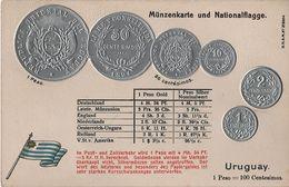 Litho Münzkarte AK Uruguay Centesimo Centesimos Peso Nationalflagge Coin Pièce Moneda America Del Sur Bandera Pabellon - Monedas (representaciones)