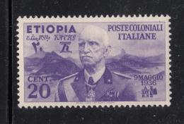 Ethiopia 1936 MNH Scott #N2 20c Emperor Victor Emmanuel III - Ethiopie
