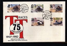 Isle Of Man1982 TT Races Michel 208-212 FDC - Motorbikes