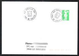 FRANCE '62 ORVILLE GA'  1992  1  OBLITERATION - Marcophilie (Lettres)