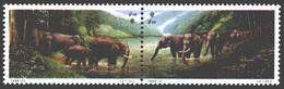 CHINA STAMPS, SETENANT PAIR, 1995, ELEPHANT, FAUNA, MNH - 1949 - ... People's Republic