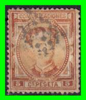 ESPAÑA SELLO  REINADO DE ALFONSO XII  AÑO 1876 5 Cts: COLOR  SEPIA - 1873-74 Regencia