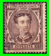 ESPAÑA SELLO  REINADO DE ALFONSO XII  AÑO 1876 25 Cts: COLOR  CASTAÑO R0JIZO - 1873-74 Regencia