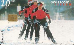 CARTE-PUCE-SUISSE-10CHF-2001-SKI De FOND-TBE - Sport