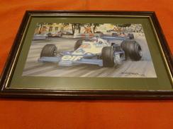 Encadrement Avec Impression De Michael Turner - 1978 - F1 - Tyrrell 008 - Patrick Depailler - Grand Prix De Monaco - Automobile - F1