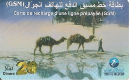 CARTE-PREPAYEE-TUNISIE-GSM-20Dinars-V° Date 11/98-TUNISIE TELECOM- Plastic EPAIS-TBE - Tunisie