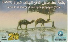 CARTE-PREPAYEE-TUNISIE-GSM-20Dinars-V° SANS DATE--TUNISIE TELECOM- Plastic EPAIS-TBE - Tunisie