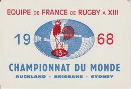 1968 Equipe De France De Rugby à XIII Championnat Du Monde Auckland-Brisbane-Sydney Décalcomanie RARE - Rugby