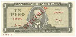 Cuba 1 Peso 1972 SPECIMEN Jose Marti UNC - Cuba