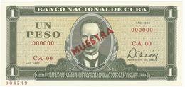 Cuba 1 Peso 1982 SPECIMEN Jose Marti UNC - Cuba