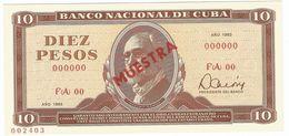 Cuba 10 Pesos 1983 SPECIMEN Maximo Gomez UNC - Cuba