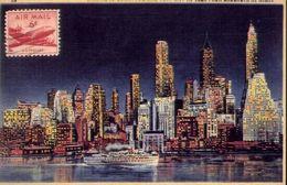 Skyline Of Downtown New York City As Seen From Brooklyn At Night - Formato Grande Non Viaggiata – E 3 - Cartoline