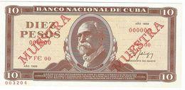Cuba 10 Pesos 1988 SPECIMEN Maximo Gomez UNC - Cuba