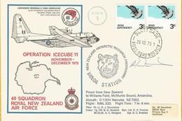 Plis Aériens SCOTT Base -  Operation Icecube 11 - Nov & Dec. 1975 - Flight Cover 40 Sqd. Royal New Zeland Air F  Signé - Dépendance De Ross (Nouvelle Zélande)