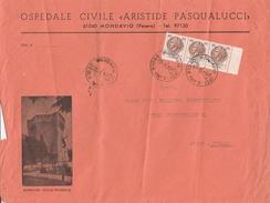 """Mondavio. 1971. Lettera """"panoramica"""", Affrancata Con Siracusana, Striscia Di 3 Del L. 100. Annullo Corno Di Posta. - 6. 1946-.. Repubblica"""