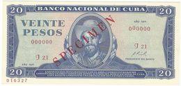 Cuba 20 Pesos 1971 SPECIMEN Camilo Cienfuegos UNC - Cuba