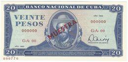 Cuba 20 Pesos 1983 SPECIMEN Camilo Cienfuegos UNC - Cuba